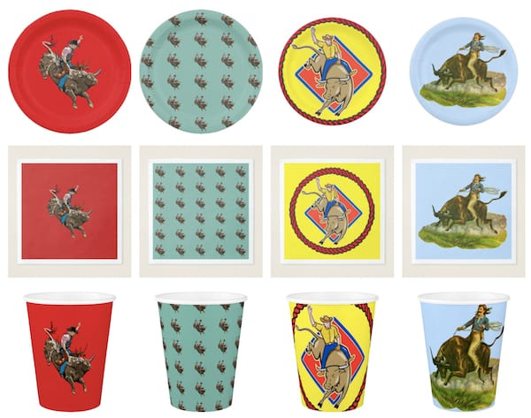 Bull Rider Paper Plates Napkins Cups