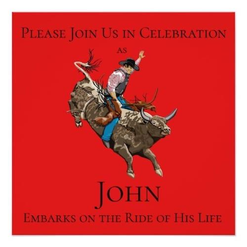 Bull Riding Graduation Invitation