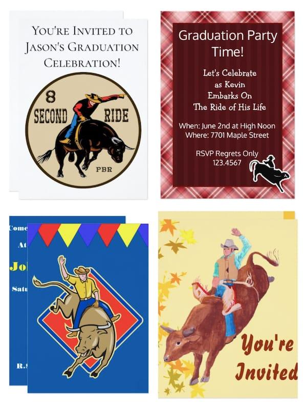 Bull Riding Graduation Party Invitations