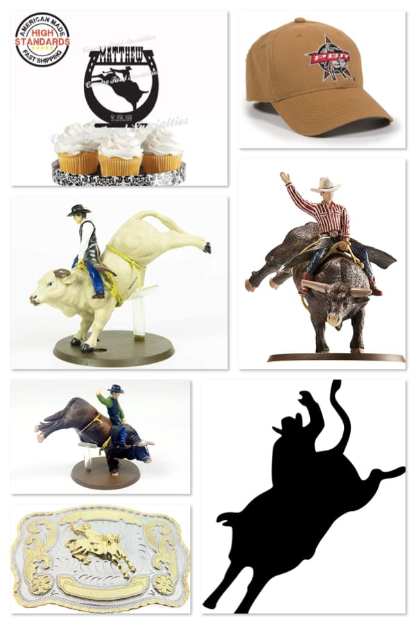 Bulll Rider Cake Toppers and Centerpiece Add-ons