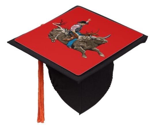 Custom Bull Riding Rodeo Graduation Cap Tassel Topper